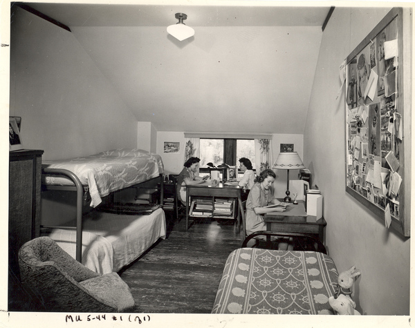 1936 - 1951: In 1936, the 3rd Floor housed 2-4 women per room. This space was expanded when the 4th and 5th Floors (and elevator!) were finished in 1937.