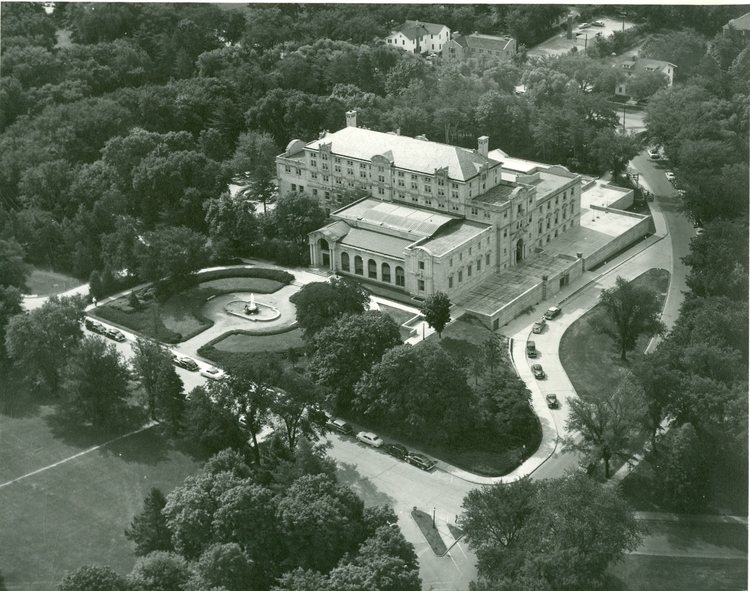 The fourth addition to the building in 1950-53 included the construction of the northwest wing and the west terrace.