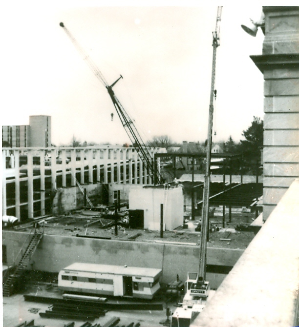 The eighth addition consisted of the first phase of the southeast wing, connecting the parking ramp to the building.