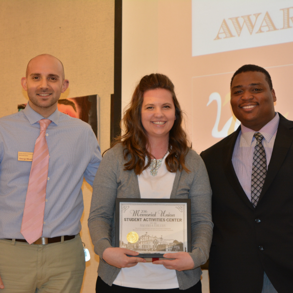 Amanda Ehlers receives recognition for as a graduating student activities center graduate student